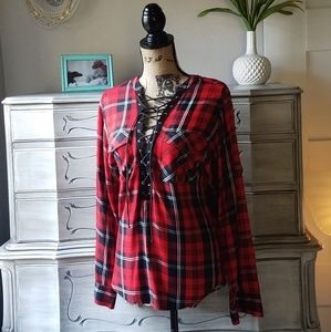 Express Plaid Lace Up Front Long Sleeve Shirt